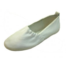S305L-W Wholesale Women's Elastic Upper Slip On Canvas Shoes ( *White Color )